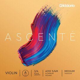 Струна Ля для скрипки D`ADDARIO A312 3/4M Ascenté Violin String A 3/4M, фото