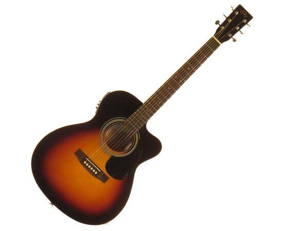 Акустическая гитара с вырезом и подключением SX OM160CE/VS, фото