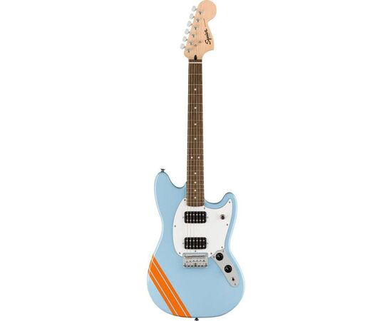 Електрогітара SQUIER by FENDER BULLET MUSTANG FSR HH DAPHNE BLUE w / COMPETITION STRIPES, фото